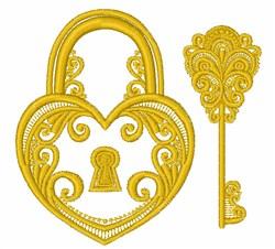 Heart Lock & Key embroidery design