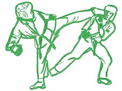 Karate Action Outline embroidery design