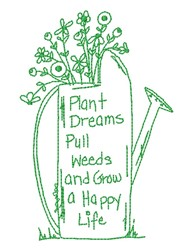 Plant Dreams & Pull Weeds embroidery design