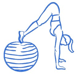 Woman & Exercise Ball embroidery design