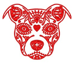 Floral Pit Bull Head embroidery design
