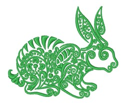 Floral Rabbit Outline embroidery design