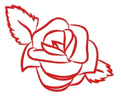 Red Rose Outline embroidery design