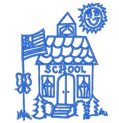Cartoon School House Outline embroidery design