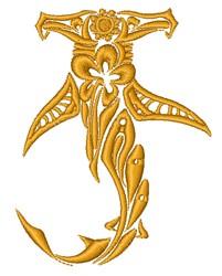 Decorative Hammerhead Shark embroidery design