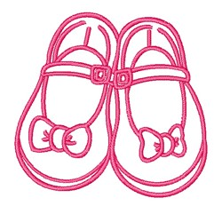 Little Girl Shoes Outline embroidery design
