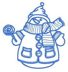 Bundled Up Snowman Outline embroidery design
