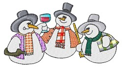 Partying Snowmen embroidery design