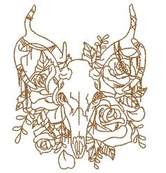Floral & Skull Outline embroidery design