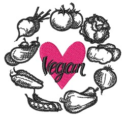 Vegan Wreath embroidery design