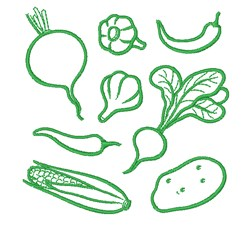Vegetable Collage Outline embroidery design