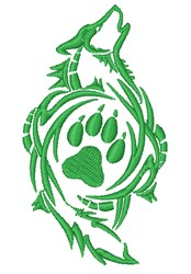 Wolf & Paw Print Logo embroidery design
