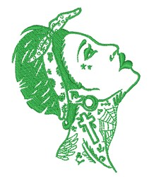 Tatted Woman Outline embroidery design