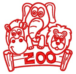 Zoo Animals Outline embroidery design