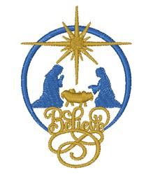 Nativity Scene Believe embroidery design