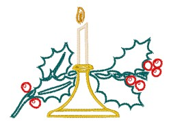 Candle & Holly Outline embroidery design