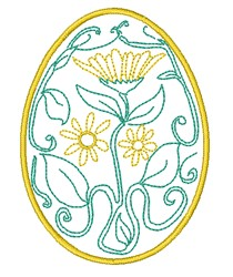 Daisy Easter Egg embroidery design