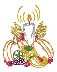 Pumpkins & Candle embroidery design