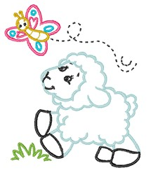 Lamb & Butterfly embroidery design