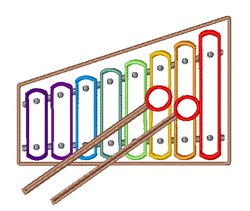 Xylophone Outline embroidery design