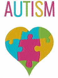 Autism Puzzle Heart embroidery design