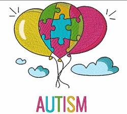Autism Balloons embroidery design