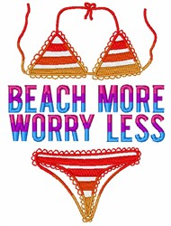 Beach More Worry Less embroidery design
