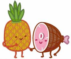 Kawaii Ham & Pineapple embroidery design