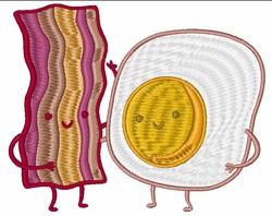 Kawaii Bacon & Egg embroidery design