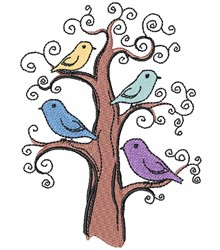Perched Birds embroidery design