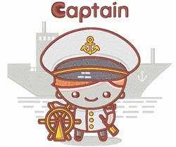 Kawaii Kid Captain embroidery design