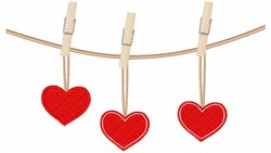 Hearts On A Clothesline embroidery design