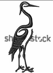 Crane Silhouette embroidery design
