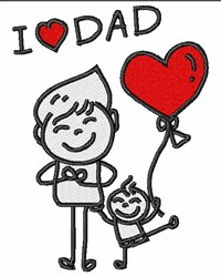 I Love Dad embroidery design