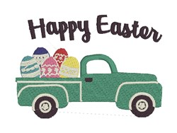 Vintage Truck Happy Easter embroidery design