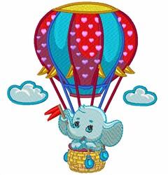 Kawaii Elephant Hot Air Balloon embroidery design
