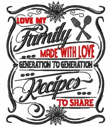 Love My Family embroidery design