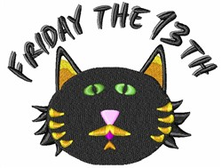 Friday The 13th Black Cat embroidery design