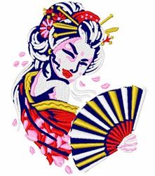 Geisha & Fan embroidery design