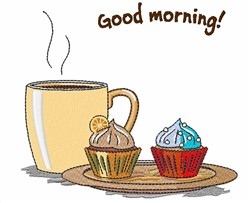 Good Morning Muffins embroidery design