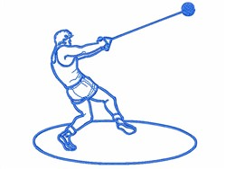 Hammer Thrower Outline embroidery design