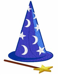 Wizards Hat & Wand embroidery design