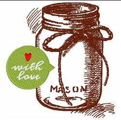 With Love Mason Jar embroidery design