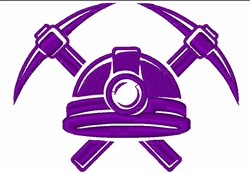 Miners Helmet & Pick Axes embroidery design