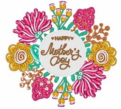 Happy Mothers Day Flowers embroidery design