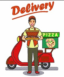 Pizza Delivery embroidery design