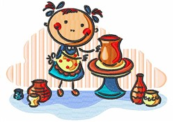 Little Girl & Pottery embroidery design