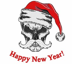 Happy New Year Skull embroidery design