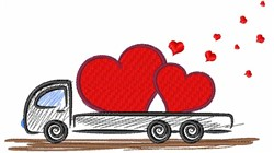 Valentines Day Flatbed Truck embroidery design