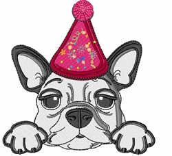 French Bulldog Party Hat embroidery design